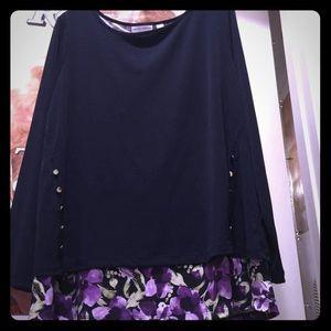 Susan Graver Black/Purple Blouse Size XL